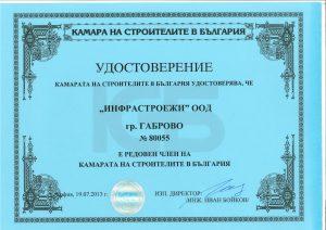 Удостоверение за Членство в Камара на Строителите в България